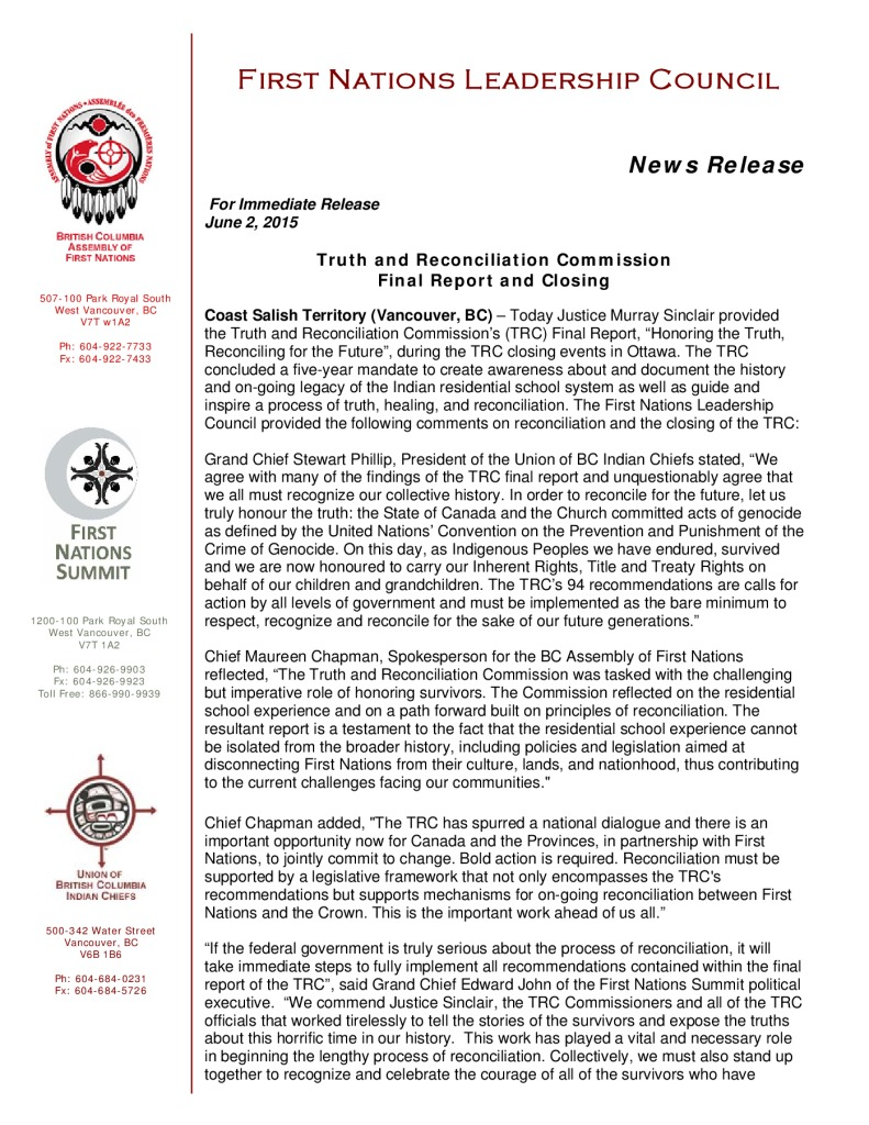thumbnail of Read the FNLC Press RElease on the Truth and Reconciliation Report and Closing