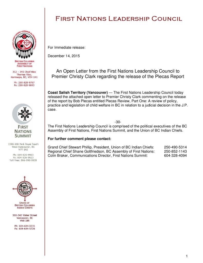 thumbnail of FNLC-release-open-letter-to-Premier-Clark-re-the-Plecas-Report-December-14-2015