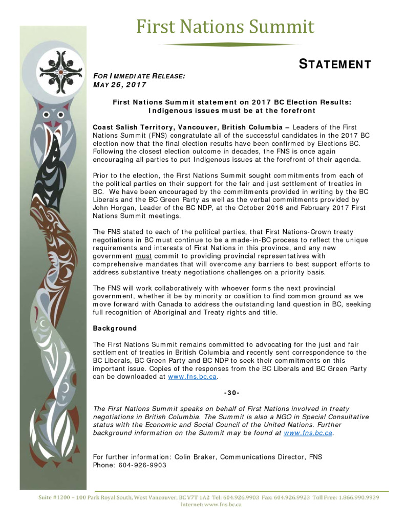 thumbnail of First Nations Summit statement on 2017 BC Election Results: Indigenous issues must be at the forefront
