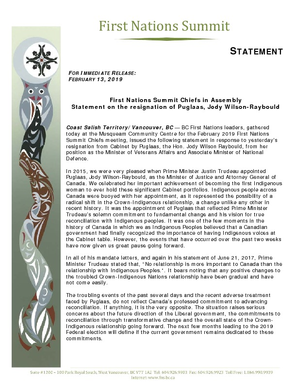 First Nations Summit Chiefs in Assembly Statement on the resignation