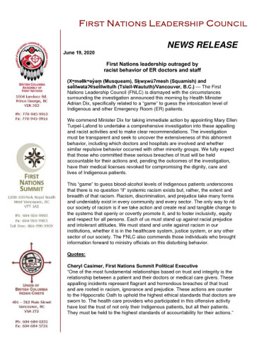 thumbnail of 2020June19_FNLC release re investigation into racist healthcare activities – FINAL(Clean)