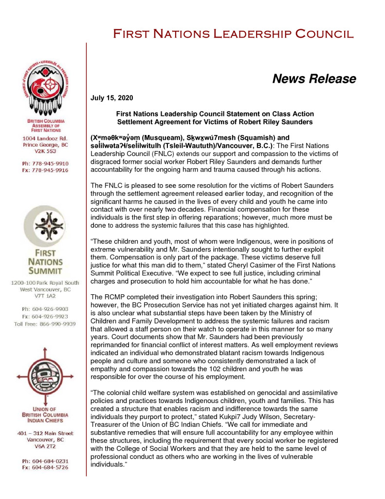 thumbnail of 2020Jul15_FNLC Statement on Saunders Class Action Settlement