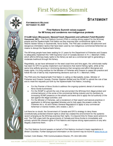 thumbnail of FNS statement re mikmaq fishery Sept 19 20