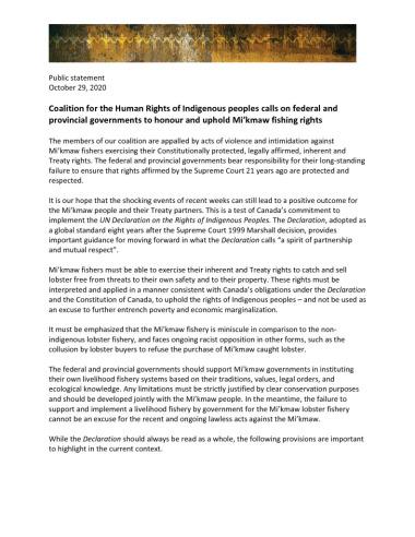 thumbnail of Coalition statement – Mi'kmaw fisheries – final