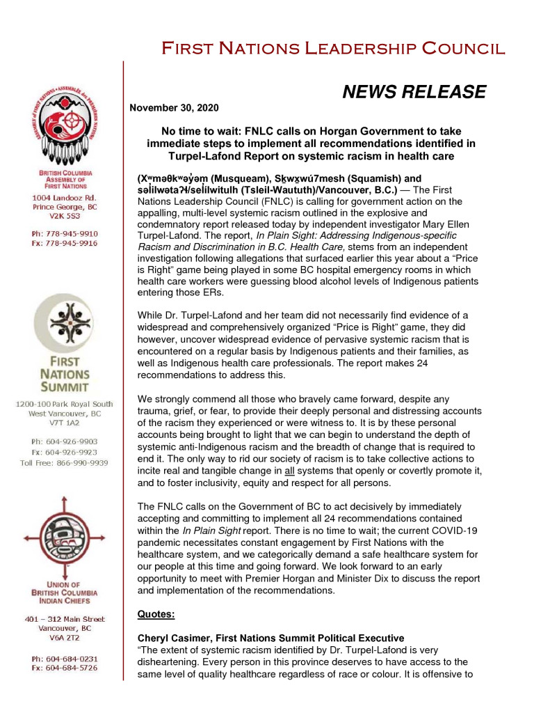 thumbnail of 2020Nov30_FNLC release re METL report on racism in BC Healthcare system – FINAL