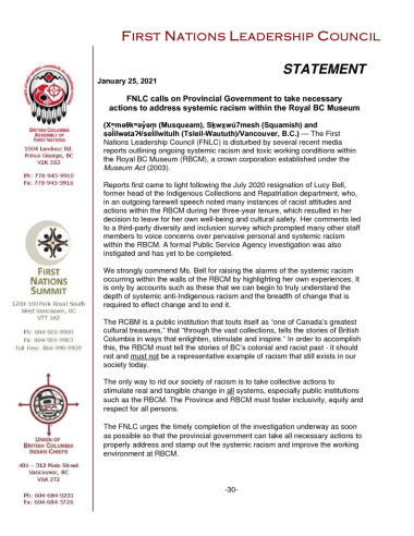thumbnail of Jan 25 2021 FNLC statement re Racism within RBCM FINAL